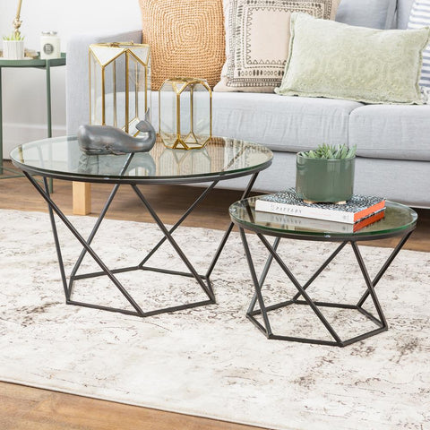 Walker Edison Geometric Glass Nesting Coffee Tables - Black