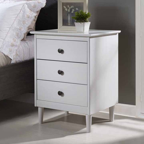 3-Drawer Solid Wood Nightstand - White