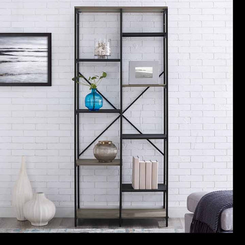 "68"" Multi-Level Mesh and Wood Shelf - Grey Wash"