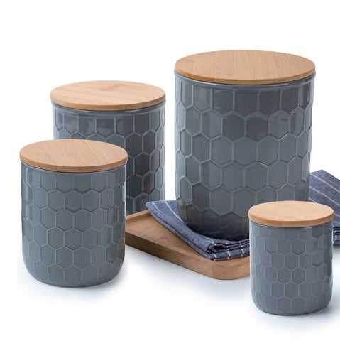 Culinary Edge Embossed Ceramic Canister Set Of 4 Grey