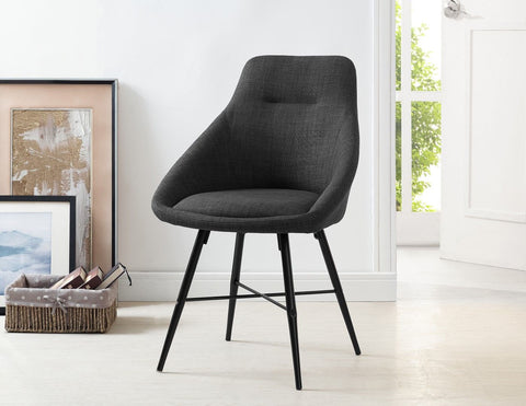 Walker Edison Urban Upholstered Side Chair, Set of 2 - Charcoal