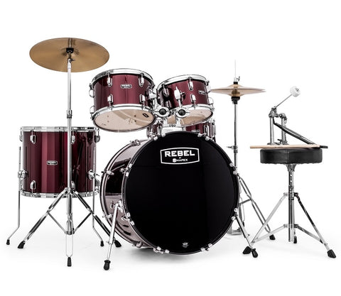 "Mapex RB5294FTCDR Rebel 5-Piece Drum Set w/ Hardware & Cymbals - Dark Red w/ 22"" Bass Drum"