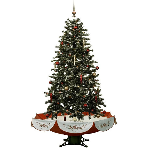 Fraser Hill Farm Let It Snow Series 55-In. Musical Christmas Tree with Red Umbrella Base and Snow Function