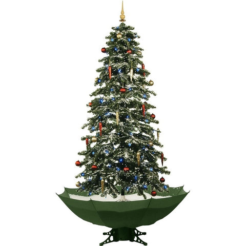 Fraser Hill Farm Let It Snow Series 67-In. Musical Christmas Tree with Green Umbrella Base and Snow Function