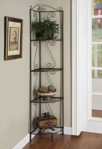 "Monarch Bookcase - 70""H - Copper Metal Corner Etagere"