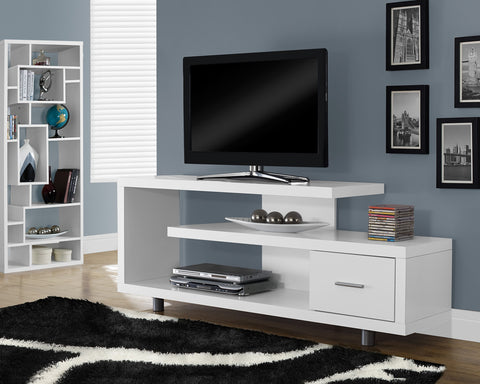 "Monarch TV Stand - 60""L - White With 1 Drawer"