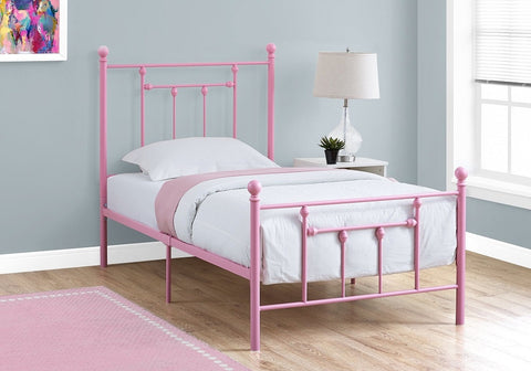 Monarch Bed - Twin Size - Pink Metal Frame Only