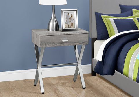 Monarch Accent Table - Dark Taupe - Chrome Metal Night Stand