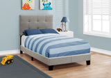Monarch Bed - Twin Size - Grey Linen