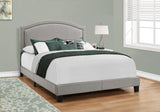 Monarch Bed - Queen Size - Grey Linen With Chrome Trim