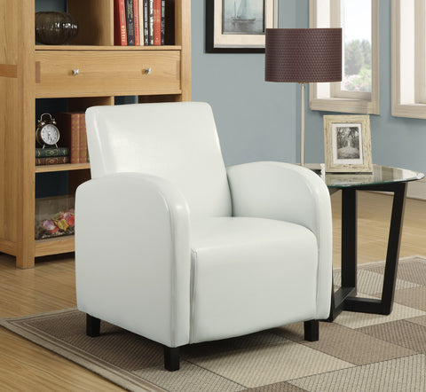 Monarch Accent Chair - White Leather-Look Fabric