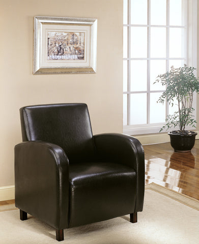 Monarch Accent Chair - Dark Brown Leather-Look Fabric
