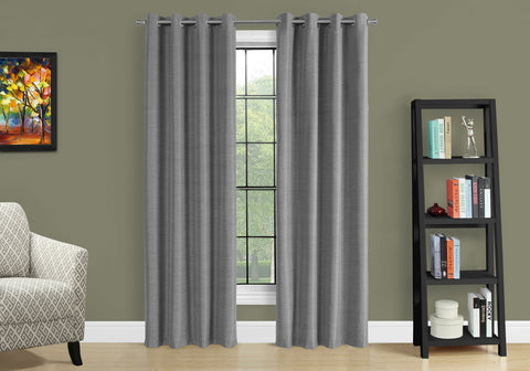"Monarch Curtain Panel - 2Pcs 52""W X 95""H Grey Solid Blackout"