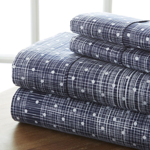 Restful Bliss Premium Ultra Soft Polka Dot Pattern 4 Piece Bed Sheet Set - Queen - Navy