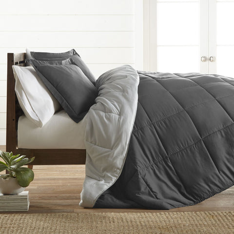 Restful Bliss Premium Down Alternative Reversible Comforter Set - Queen - Gray & Light Gray