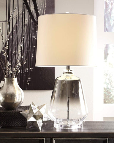 Jaslyn Glass Table Lamp (1/CN) Silver Finish by Ashley Furniture