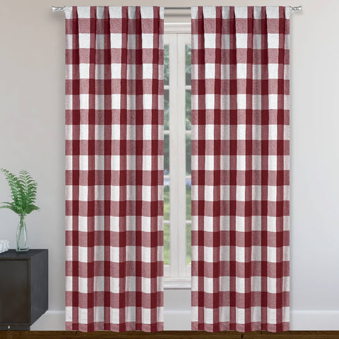 Morena Blackout Plaid Pole Top Window Curtain Panel Pair Set Of Two