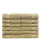 Bare Cotton Luxury Hotel & Spa Towel 100% Genuine Turkish Cotton Washcloths - Drift Wood - Dobby Border  - Set of 12