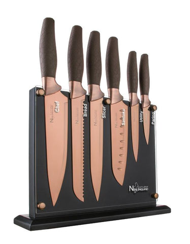 New England Cutlery 7pc Titanum Coated Set Copper