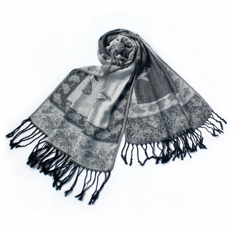 Blancho Bedding -Pa-a66-4 Lt-Grey Big Butterfly & Flower Elegant exquisitely Soft Tassel Ends Pashmina/Shawl/Scarf