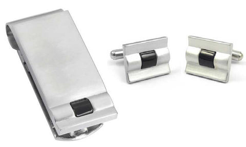 Visol Kuro Stainless Steel Money Clip and Cufflinks Gift Set