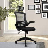 Techni Mobili Modern High-Back Mesh Executive Office Chair with Headrest and Flip-Up Arms, Black