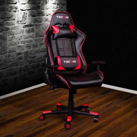 Techni Sport TS-4900 Ergonomic High Back Racer Style Video Gaming Chair, Red