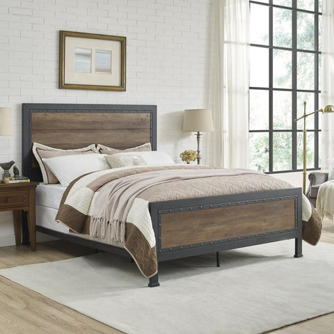 Walker Edison Queen Size Industrial Wood and Metal Bed - Rustic Oak