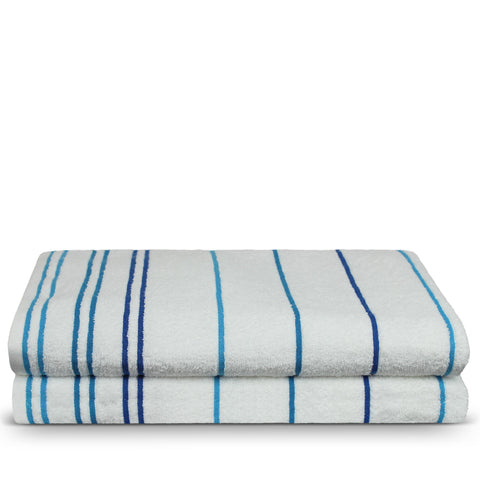 Luxury Hotel & Spa Towel 100% Pure Cotton Pool Beach Towels - Blue - Striped - Set of 2