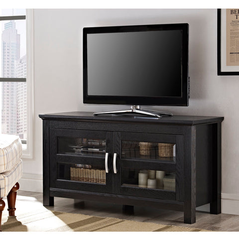 "Walker Edison 44"" Black Wood TV Stand Console - W44CFDBL"