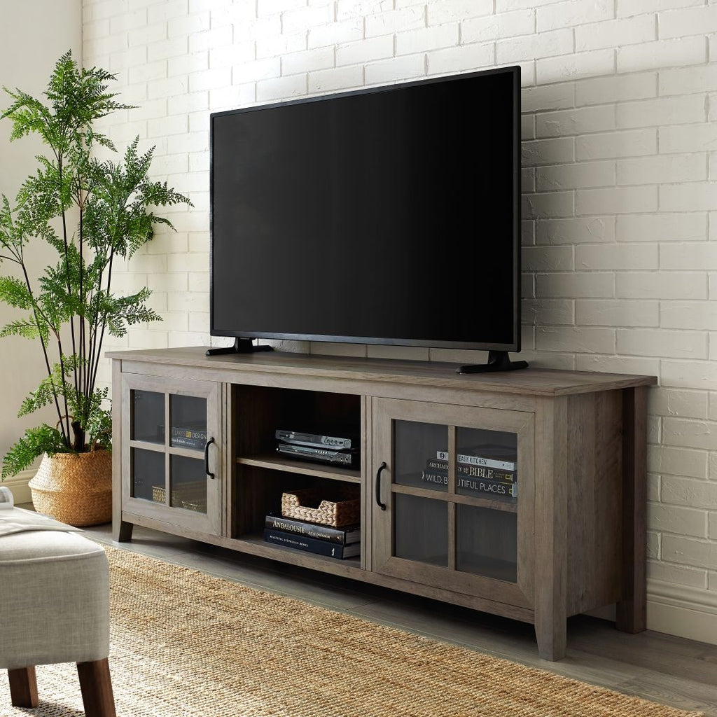 70 Farmhouse Wood Tv Stand Grey Wash Zebit
