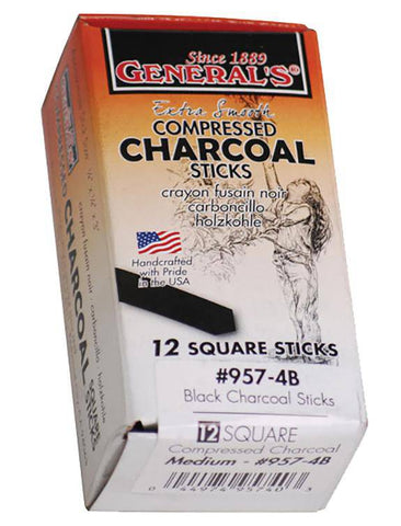 Generals Compressed Charcoal Sticks box of 12 pces