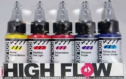 Golden High Flow Transparent Set of 10 colours 30ml