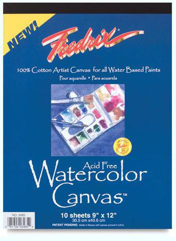 "Fredrix Watercolour Canvas Pad 9"" x 12"" 10 sheet pad"
