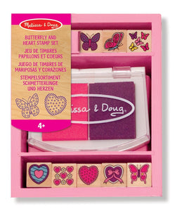 Butterfly & Heart Themed Wooden Stamp Set + FREE Melissa & Doug Scratch Art Mini-Pad Bundle [24150]
