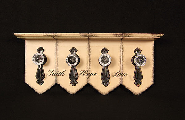 Faith, Hope & Love Shelf with Vintage Door Knob Hooks