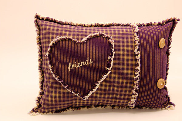 Ragged Edge Pillow - Friends Deep Purple