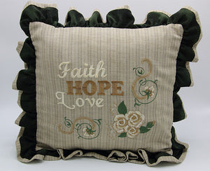 Embroidered Pillow - Faith Hope Love