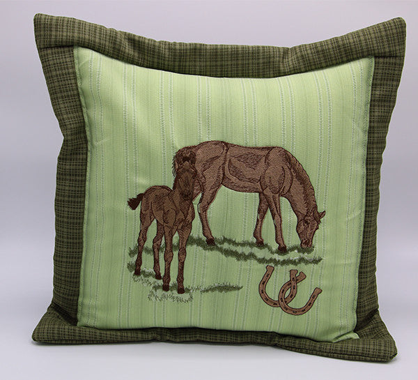 Embroidered Pillow Horses