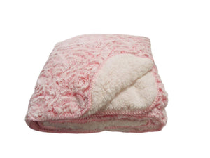 "REGAL COMFORT LUXURY FAUX FUR ""PINK ROSE"" throw blanket"