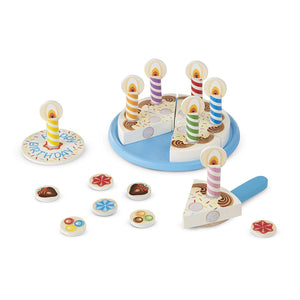 "Melissa & Doug Birthday Party Cake, Wooden Play Food, Mix-n-Match Toppings and 7 Candles, Sturdy Construction, 34 Pieces, 11"" H x 12"" W x 2.8"" L"