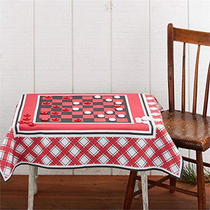 Checkers Tablecloth Board Game in A Mason Jar