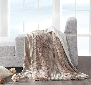 Regal Comfort Faux Fur Mocha Stripe Throw Blanket