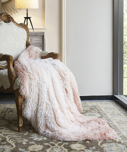 Regal Comfort Blush Ombre Throw Blanket