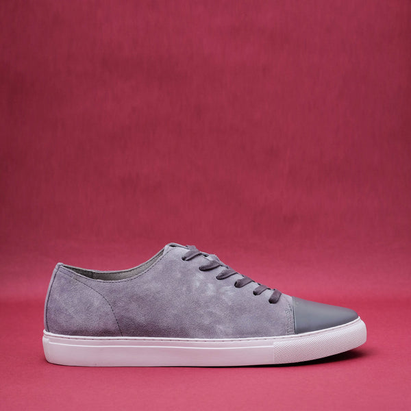Kron Gray Suede Cap Toe Sneakers