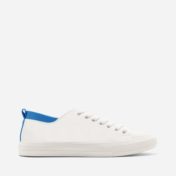 Tyg White/Blue Sneakers