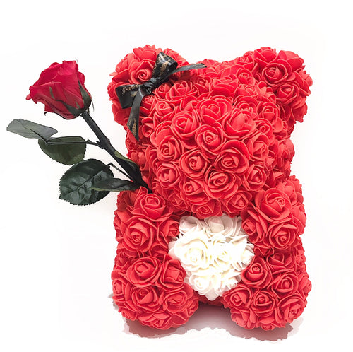 Medium Red Heart Fleur Bear