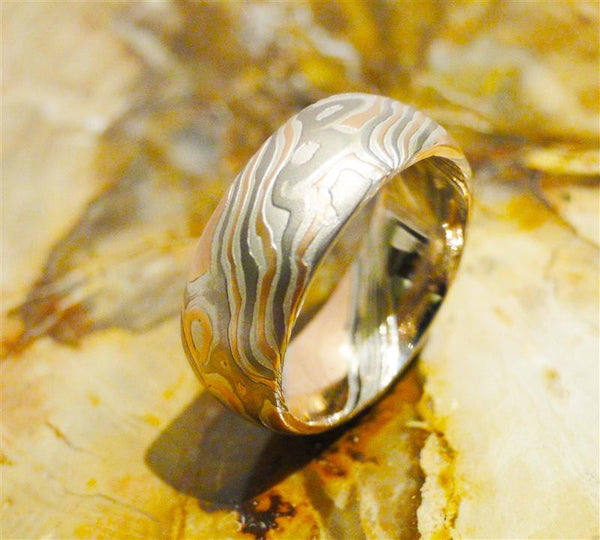 14K Palladium White Gold, 14K Red Gold and Sterling Silver Mokume Gane Ring