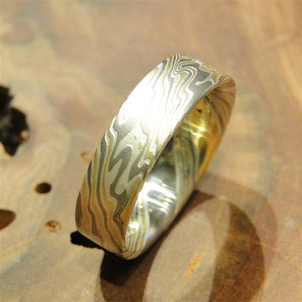 14K Palladium White Gold, 18K Yellow Gold and Sterling Silver Mokume Gane Ring