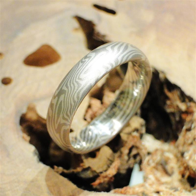 14K Palladium White Gold and Sterling Silver Mokume Gane Ring